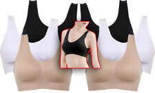 ~TWO 3 PACKS!~ SMALL 30 A B C D Bra Yoga Pilates Sleeping Soft Stretchy White Om
