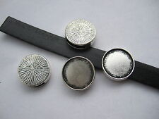 10pcs Blanks Bezel 16mm Setting Cabochon Slider Beads For 10mm Flat Leather