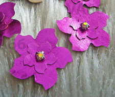 Handmade DIY Faux Leather Flowers 8 Metallic Fuchsia Iron On Hot Fix Applique