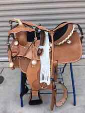 "15"" New All Leather Western Barrel Pleasure Racing Saddle and Tack Package"
