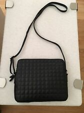 Banana Republic CANDICE Cross Body Shoulder Bag Black Quilted Cowhide Leather