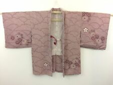 Authentic Japanese pink silk haori jacket for Kimono, with himo, good c. (H1170)
