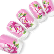 Nail Art Water Slide Decals Transfers Stickers Wraps Pink Peony Rose Flower G140