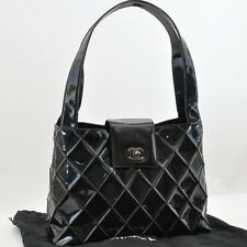 Authentic  CHANEL Vernis Leather Hand Bag Black #S2069