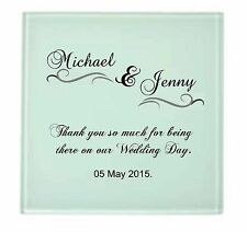 PERSONALISED/CUSTOMISED WEDDING, FIRST COMMUNION GLASS COASTERS
