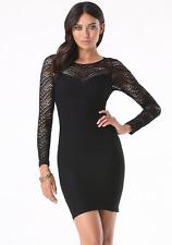 NWT bebe XXS XS S black long sleeve emma slash cutout lace top dress bodycon