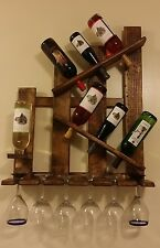 Wine Rack Shelf & Glass Holder, Distressed Reclaimed Wood, Wall Mount Handmade