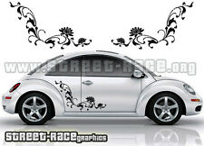 VW Volkswagen Beetle side floral flower stickers 014 graphics decals