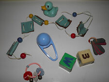 Lot Vintage Baby Toys - Duck Teether Blocks Rattles And More