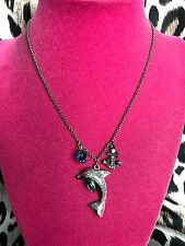 Betsey Johnson Vintage Under The Sea Nautical Dolphin Anchor Charm Necklace