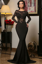 Black Lace Mermaid Long Sleeve Cocktail Evening Prom Dress Size L UK 12