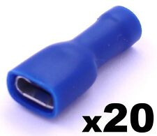 20 Blue Female 6.3mm Spade Connector Insulated Crimp Terminals Electrical Wiring