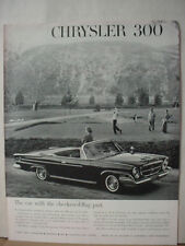 1962 Chrysler 300 Convertible on Golf Course Car Vintage Print Ad 10612