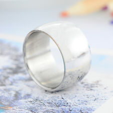 1PC Stainless Steel 12mm Wide Men's Smooth Band Ring Silver Tone US Size 8
