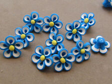 10 Handmade Polymer Clay Blue White Yellow Flower 22mm Beads(PPP3i)