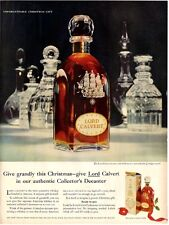 1958 Lord Calvert Whisky Ship Etched Gift Decanter Bottle Vintage PRINT AD