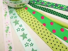 14 yards Grosgrain/Satin Design Ribbon Scrapbooking Scrap Mix Lot/Craft R-Green