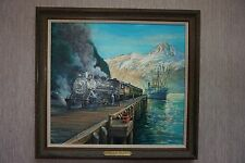 "Signed Ted Xaras Train Oil On Canvas ""Gateway To The Yukon"""