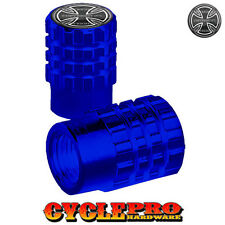 2 Blue Billet Knurled Tire Valve Cap Motorcycle - IRON CROSS - 018