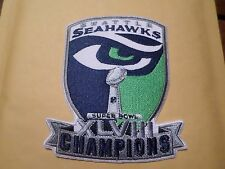 NFL SEATTLE SEAHAWKS SUPER BOWL XLVIII CHAMPIONS IRON ON PATCH 4 X 4 1/2