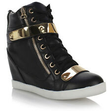 WOMENS LADIES WEDGE CONCEALED HEEL HIGH TOPS PLATFORM TRAINERS ANKLE BOOTS SHOES