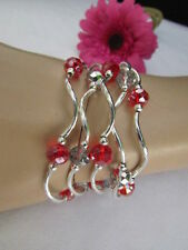 WOMEN RED SILVER BIG BEADS TRENDY SUMMER FASHION BRACELETS JEWELRY FIVE BANGLES