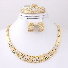 Jewelry Sets Women 18k Gold Plated Necklace Bracelet Earrings Ring Wedding Gift
