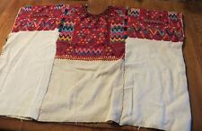 VINTAGE HUIPIL PONCHO - HAND WOVEN FABRIC & NEEDLEPOINT TEXTILE FOLK ART