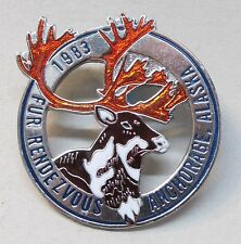 1983 Anchorage Alaska FUR RENDEZVOUS brooch pinback pin CARIBOU