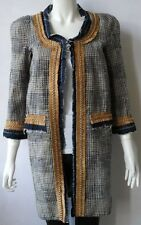 DSQUARED2 SZ UK8 US4 IT40 TWEED DENIM PLAID CHECKED DRESS JACKET DUSTER COAT