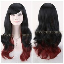 Fashion Women Wig Cosplay Party Fancy Dress Wavy Hair Wigs Long Black Red Mixed
