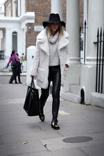 TOPSHOP CELEBRITY OFF WHITE WINTER BORG COAT JACKET SIZE UK8/EUR36/US4