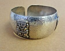 VTG 30s-40s GUATEMALA 900 SILVER MAYAN TRIBAL BRACELET Hammered Cuff