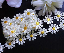 1 inch wide cream/yellow daisy embroidery lace trim  selling by the yard