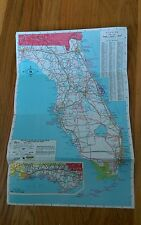 1986 Hertz Rent A Car Map Color Art Florida Pensacola Fort Walton Beach Miami IA
