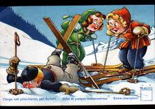 WENGEN (SUISSE) ACCIDENT de SKI illustré par MINOUVIS en 1958