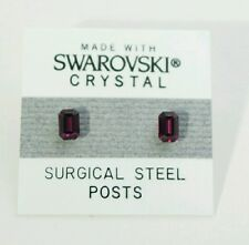 5mm Small Purple Crystal Emerald Rectangle Stud Earrings SWAROVSKI ELEMENTS Gift