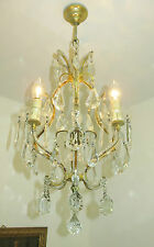 SUPERB VINTAGE FRENCH CHANDELIER LIGHT LAMP CRYSTAL & GLASS BEADS SO PRETTY