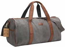 24'' Large Canvas Travel Duffel Bag For Mens Womens Overnight Weekend Bag Grey