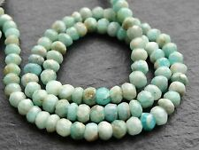 "HAND CUT AMAZONITE RONDELLES, 4mm / 4.5mm, 13"", 110 beads"