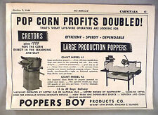 Cretors Pop Corn Popping Machine PRINT AD - 1946 ~ Poppers Boy Products