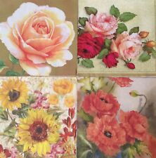 set of 8 NAPKINS DECOUPAGE ART COLLECTIBLE FLORAL ROSE POPPY SUNFLOWER PUMPKIN