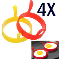 Silicone Round Egg Rings Pancake Mold Ring w Handles Nonstick Fried Frying SET 4