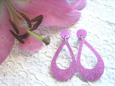 'SILVER SCREEN QUEEN' VINTAGE FUCHSIA PINK GLITTER HOOP EARRINGS / RETRO / PINUP