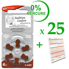 25 plaquettes de 6 piles auditives 312 RAYOVAC pour appareils auditifs (PR41)