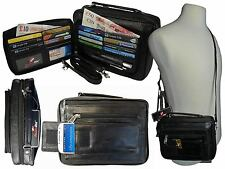 Mens Mans Soft Leather Travel Organiser Utility Man Bag Shoulder Bags Black R521