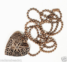 Antique copper filigree  heart locket with iron ball chain