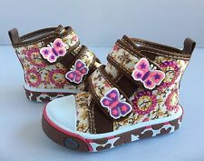 Baby toddler girl Brown Canvas boots shoes size 3 with double butterfly Strap
