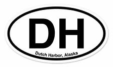 "DH Dutch Harbor Alaska Oval car window bumper sticker decal 5"" x 3"""