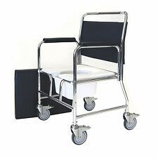 Heavy Duty Bariatric Mobile Commode Chair with castors and 4 brakes